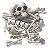 28pcs Horrible Haunted House Props Broken Bone Skull Halloween Skeleton Party Decor,Full Body Halloween Skeleton,Skeleton Full Body Realistic with Joints for Halloween Pose Skeleton Prop Decoration