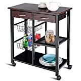 Costzon Rolling Kitchen Cart, Storage Trolley w/2 Drawers Baskets Stand Countertop Table