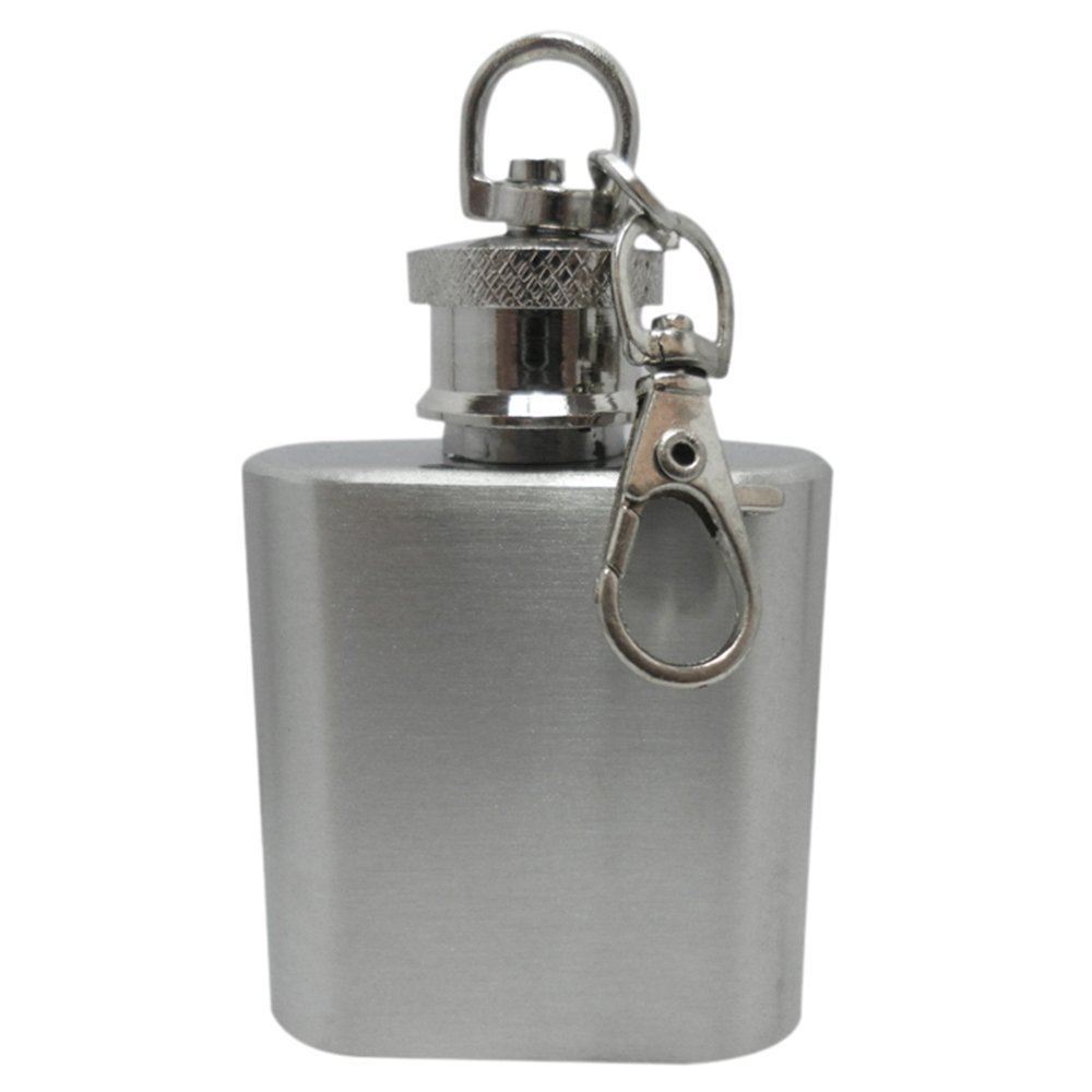 Gemini/_mall/® 1oz Stainless Steel Hip Flask on Key Ring