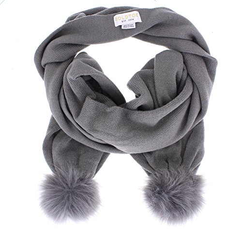 Gold Toe Women's Montana Long Knit Scarf with Furry Pom Poms Grey