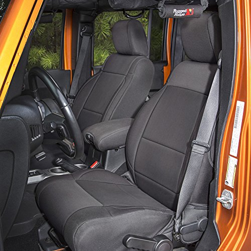 - Rugged Ridge 13295.01 Black Seat Cover Kit, 2007-2010 Jeep Wrangler JKU, 4 Door, 2 Pack