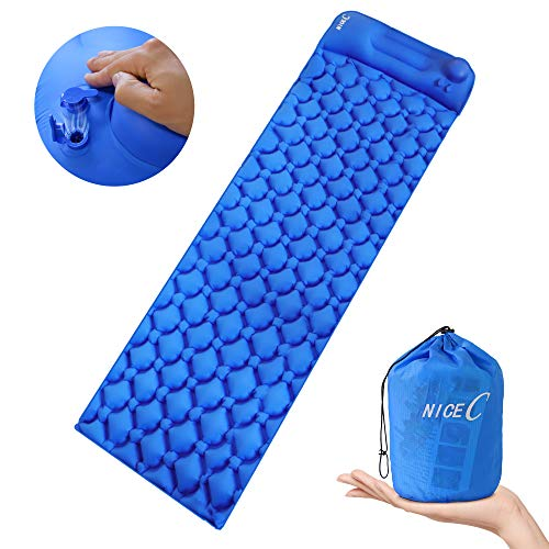 Nice C Ultralight Sleeping Pad, Self-Inflatable Camping Mat, Camping Foam Pad, Foldable Air Mattress for Camping, Backpacking, Traveling and Hiking with Carry Bag (Blue)