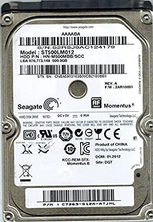 Seagate ST500LM012 P/N: c7263-g12 a-atjml F/W: 2 ar10001 dgt 500 ...