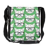 Glasses Cat Men Wowen Outdoor Messenger Bag School Bag Crossbody Shoulder Bag-Black