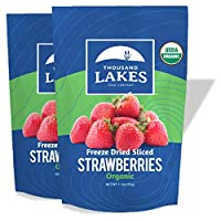 Thousand Lakes Freeze Dried Fruits and Vegetables - ORGANIC Strawberries 2-pack 1.1 ounces (2.2 ounces total)   No Sugar Added   100% Sliced Organic Strawberries