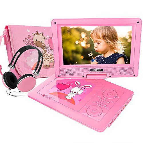 FUNAVO 9.5 Portable DVD Player with Headphone, Carring Case, Swivel Screen, 5 Hours Rechargeable Battery, SD Card Slot and USB Port (Pink)