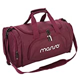 MOSISO Polyester Fabric Foldable Gym Bag Sports Travel Overnight Duffels Lightweight Athletic Sport Camping Shoulder Bag, Wine Red