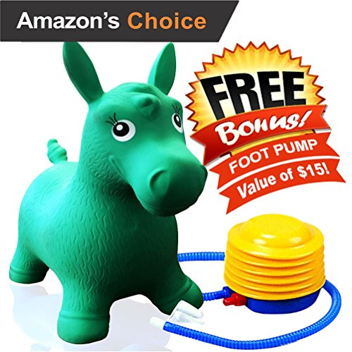 ToysOpoly Inflatable Bouncer Cutest Bouncy Hopper Toy for Kids. Come In Several Animal Shapes: Deer, Horse, Dog and Cow. Foot Pump Included (Green)