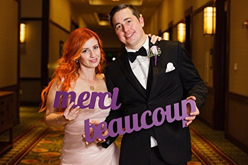 Merci Beaucoup Wedding Sign for Photos and Thank You Card - French Merci Beaucoup Photo Prop for Wedding or Engagement Photography