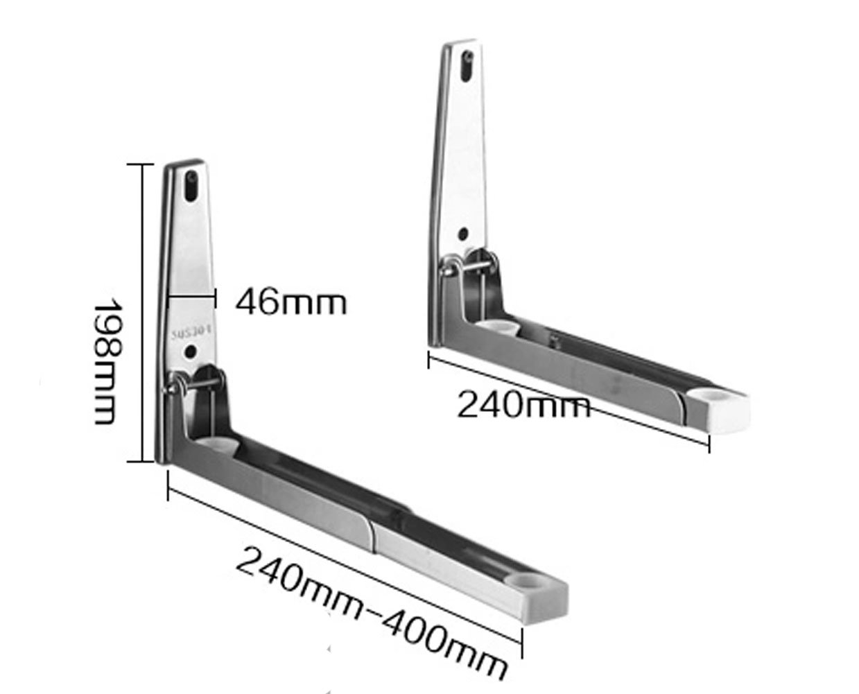 Rykey Sturdy Foldable 304 Stainless Steel Shelf Rack for Microwave Oven Wall Mount Bracket Load 60kg