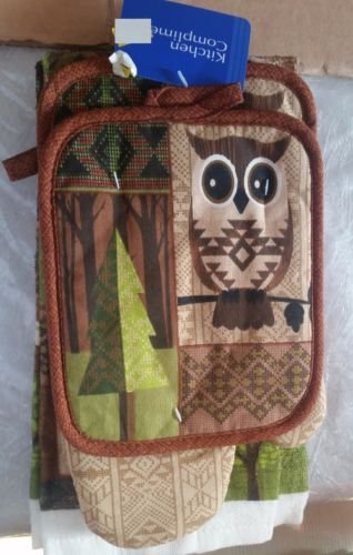 The Pecan Man OWL & FOX Everyday Kitchen Set of 7, 1 OVEN MITT & 2 Pot Holders & 2 Rags & 2 Kitchen Towels