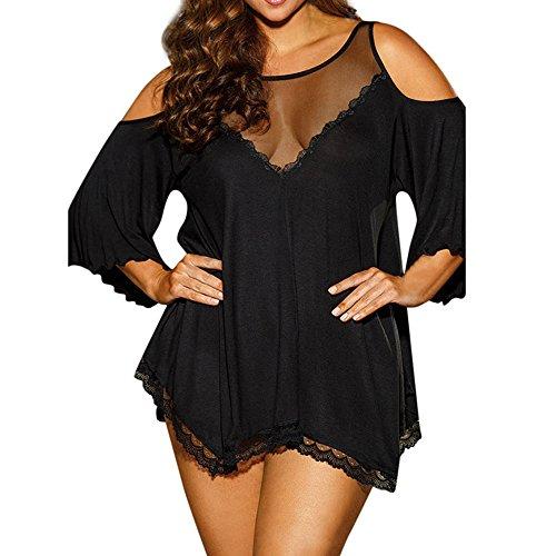 (Valentines Day, Plus Size Women Sexy Underwear Babydoll Sleepwear Lingerie G-String Set (Black, 2XL))