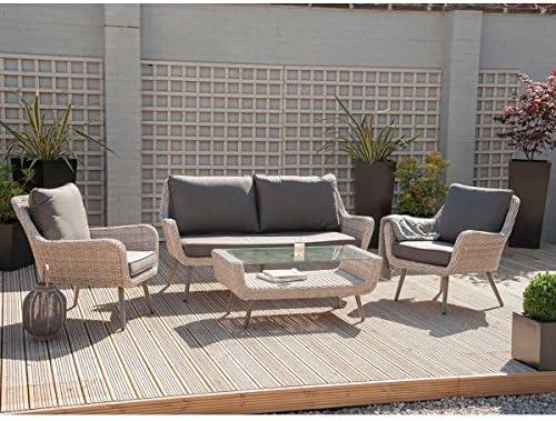 Sand Skagen Juego de 4 asientos de ratán para jardín, patio, exterior, duradero: Amazon.es: Jardín