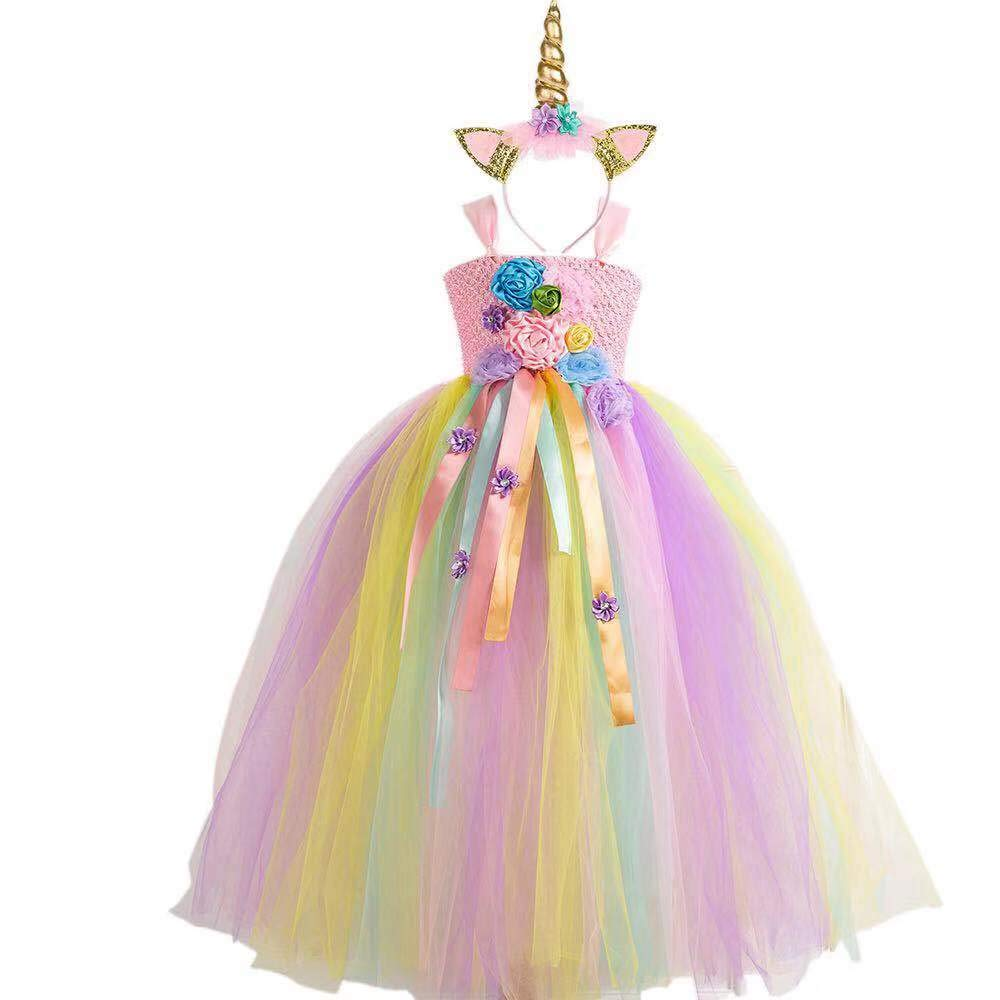 Birthday 4T 6T 8T 10T Unicorn Tutu Dress for Girls Unicorn Dress Costume with Headband Tulle Outfit for Party Cosply