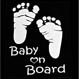 Eaglerich Refective Car Sticker Lovely Letter Baby on Board Baby Footprints Stickers Auto Safety Warning Window Sticker