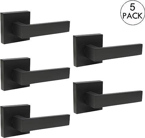 Matte Black Door Lever Knob Hardware Lock Set