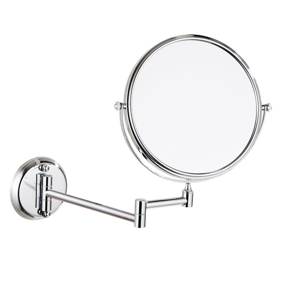 HaloVa Makeup Mirror, Wall-mounted Punching-free Double-sided Beauty Mirror, Waterproof Rustproof Foldable Cosmetic Mirror with Aluminium Bracket, 360°Rotation, Silver