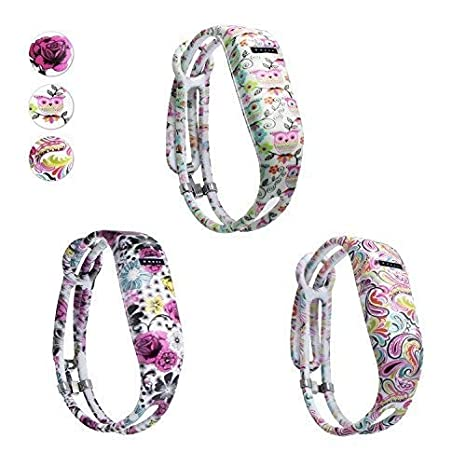 Colorful Band Design with Adjustable Metal Clasp Comfortable Hotodeal Replacement Bands Compatible with Fitbit Flex Prevent Tracker Falling Off Cute Patterns Fashion Silicone Wristband Accessory Pack of 3 4334970156