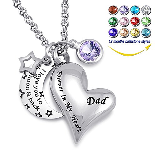 YOUFENG Urn Necklaces for Ashes I Love You to The Moon and Back for Dad Cremation Urn Locket Birthstone Jewelry (February urn Necklace) ()
