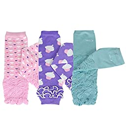 Bowbear Baby 3-Pair Leg Warmers, Hearts, Cupcakes, Ruffles, and Ruched, One Size