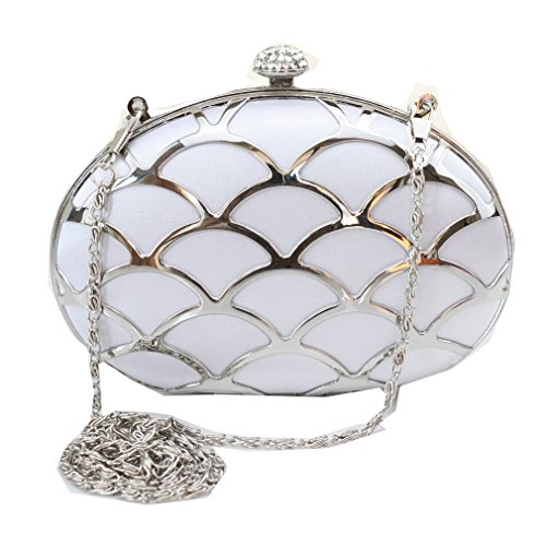 Dilize Bag Slim Case Silver Chain Women's Box Party Hard Clutch Rhinestone rawrqz4