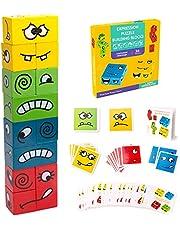 Inpher Montessori Houten dobbelsteen, kleurrijk educatief speelgoed, interactie speelgoed, houten uitdaging, denktraining, magische kubus, bouwstenen, speelgoed veranderende kubus voor kinderen vanaf 3 jaar
