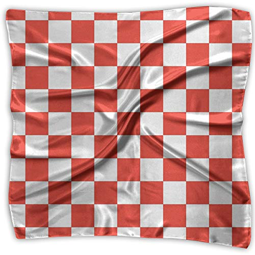 (Large Womens Fashion Silk Neck Shawl Square Satin Scarf, Red And White Checkered Pattern Printed Silky Bandana Head Scarf Sleeping)
