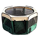 Foldable Portable Dog/Cat/Rabbit/Puppy Pet Playpen Exercise Pen Kennel 600D Oxford Cloth with Carry Bag