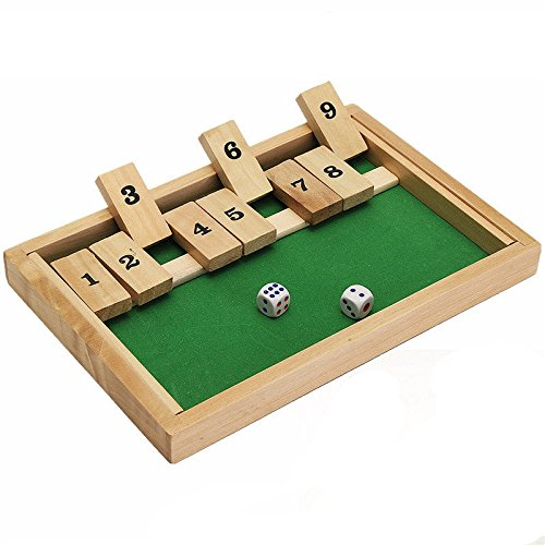 Wooden Box Traditional Pub Board Dice Mathematic Game for Family Kids Children by MiguCo