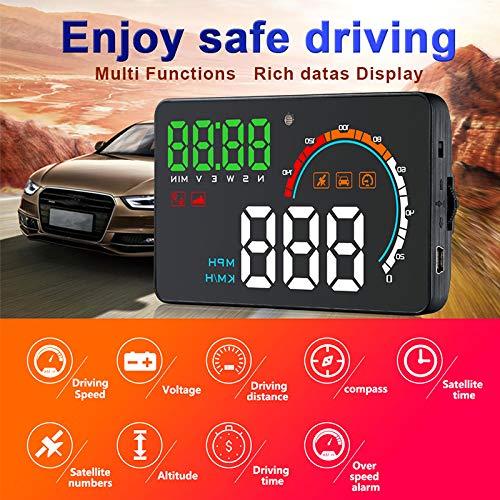 BEESCLOVER Q5HUD Universal Auto Auto GPS HUD Speed Kilometerz/ähler Head Up Display Digital Auto Tachometer Overspeed Schwarz Q5