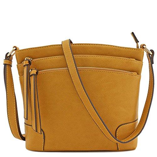 Triple Zipper Pocket Medium Crossbody Bag (Mustard)