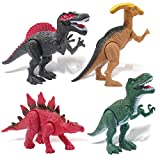 Toyk Dinosaurs Toys for Boys Girls Kids Toys 4 Pcs Large Dinosaurs With Realistic Looking Dinosaur Figures Sounds Movable Feet