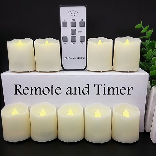 【Timer, 18 Pcs Batteries Included】9 Pcs LED Votive Tea Lights Candles Battery Operated Flickering Flameless Candles 2'' Dimmable Amber Yellow Flame Light with (Led Candle Lights)