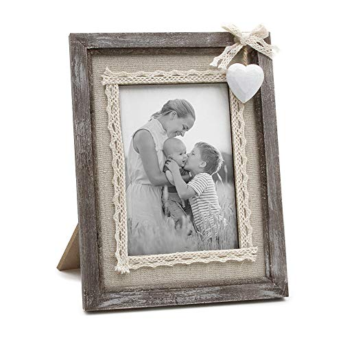 Afuly Rustic Love Picture Frame 4x6 White Heart Cute Burlap Distressed Wood Photo Frames Wedding Gifts