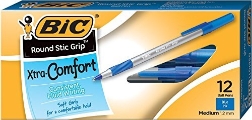 Round Stic Grip Xtra Comfort Ballpoint Pen, Medium Point (1.2mm), Blue, 12-Count, Pack of 6 by BIC
