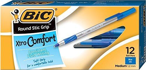 Ultra Round Stic Grip Ballpoint Stick Pen, Blue Ink, Medium, Dozen, Sold as 1 Dozen