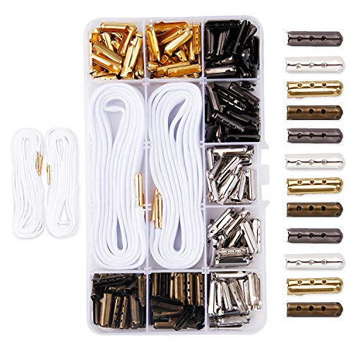 Lace Hooded (Metal Shoelaces Tips Head,DianMan 200 pcs DIY Metal Aglets Shoelace Tip Ends Bullet Shaped Aglet Tips For Shoelace Hoodies Beach Pants Cylinder Tips Hoodies String Metal Tips)