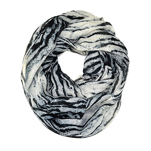 Tiger Scarf - Tiger Animal Print Soft Infinity Loop Scarf (Gray)