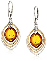 Gold-Plated Sterling Silver and Honey Amber Drop Earrings