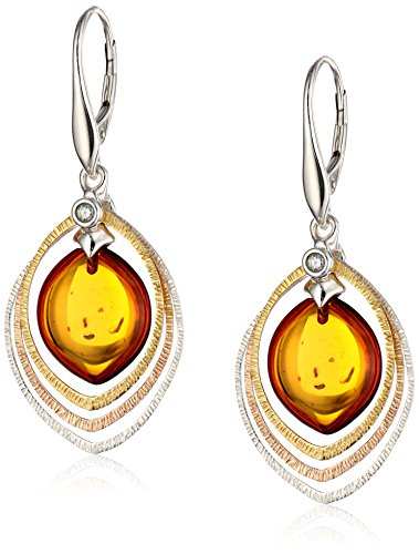 Gold Plated Sterling Silver Honey Amber Drop Earrings