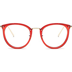 f88606e55a Amomoma Fashion Round Eyewear Frame Eyeglasses Optical Frame Clear Lens  Glasses AM5001