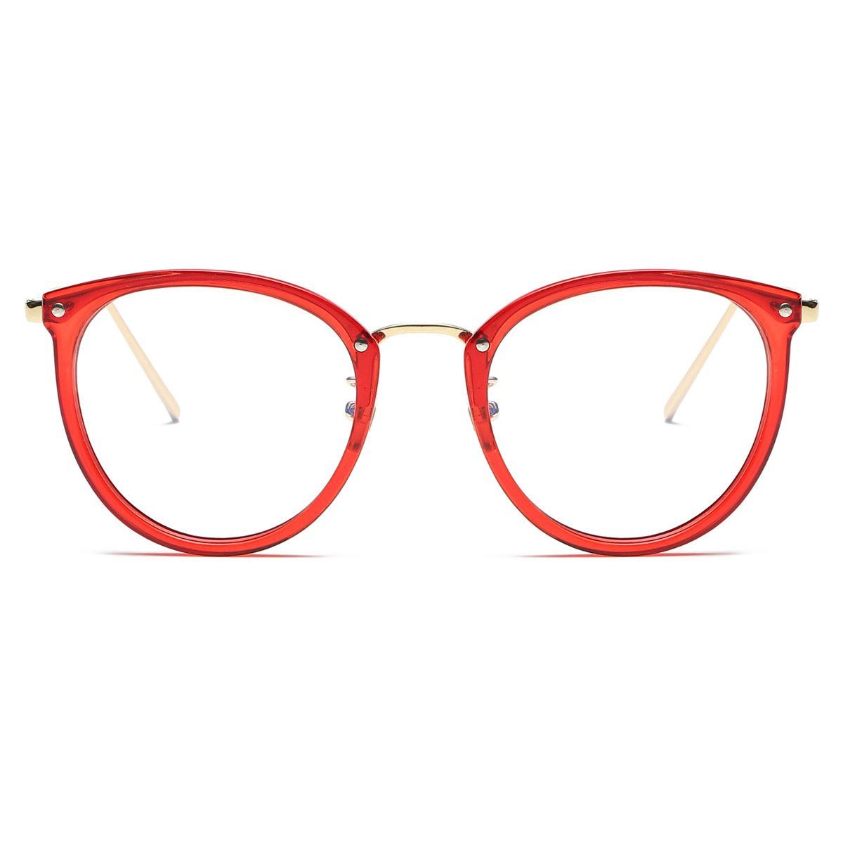 5f27ec75a4 Amazon.com  Amomoma Womens Fashion Clear Lens Round Frame Eye Glasses  AM5001 Red Frame Clear Lens  Clothing