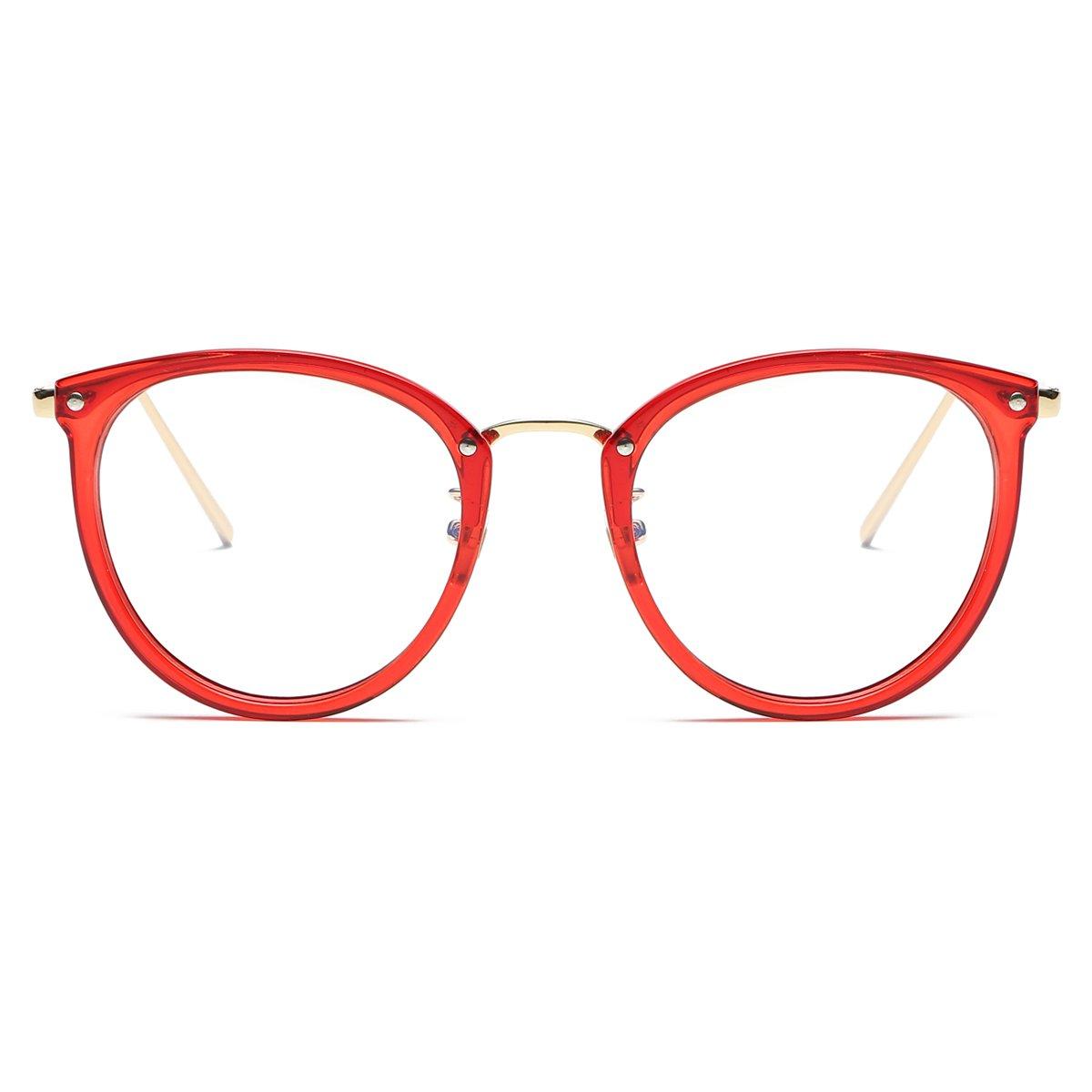 7de58e41029 Amazon.com  Amomoma Womens Fashion Clear Lens Round Frame Eye Glasses  AM5001 Red Frame Clear Lens  Clothing