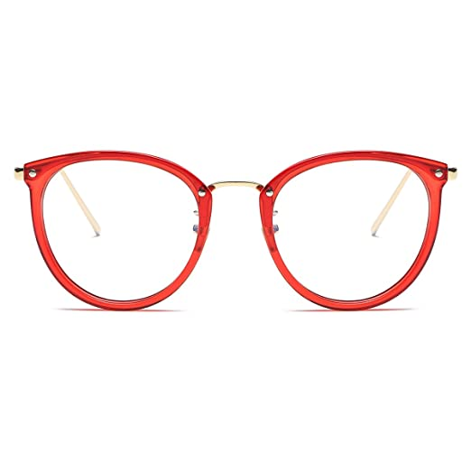 20a0e16c5e Amomoma Womens Fashion Clear Lens Round Frame Eye Glasses AM5001 Red Frame Clear  Lens