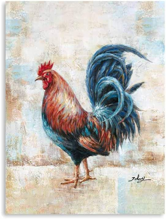 "Rooster Artwork Wall Decor: Rooster Prints Small Golden Rooster Pictures Wall Decor for Farmhouse Wall Decor Animals Framed Ready to Hang (12""x16""x1 Panel)"