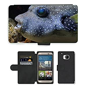 GoGoMobile Flip PU Leather Wallet Case with Credit Card Slots // M00117828 Puffer Fish Boxfish Fish Thick // HTC One M9