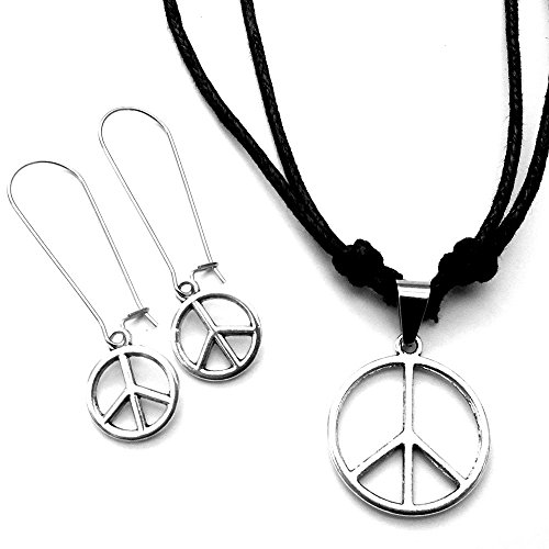 Hippie Peace Sign Jewelry Set (Sabai NYC Classic Peace Sign Earring & Adjustable Necklace Set)