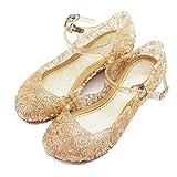 LnLyin Baby Girls Soft PVC Crystal Shoes Children's Princess Shoes,Yellow,Toddler UK 7.5 (15.5cm)