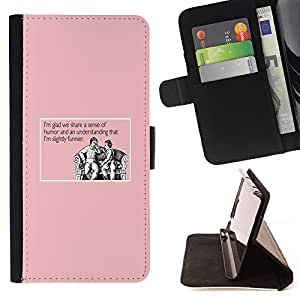 BullDog Case - FOR/Apple Iphone 5 / 5S / - / humour funny quote joke pink life man /- Monedero de cuero de la PU Llevar cubierta de la caja con el ID Credit Card Slots Flip funda de cuer