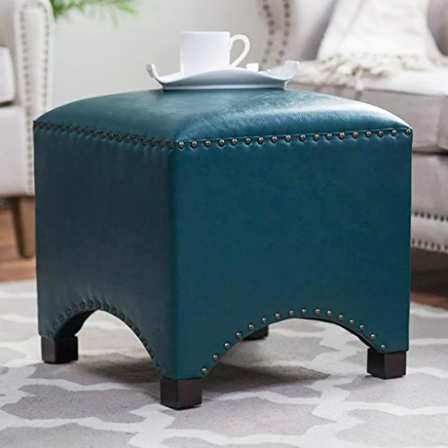 UUSSHOP Wood Seating Footstool Footrest Ottoman Pouffe Square Chair Foot Stool with Luxury Oil Wax Leather Cover, Handcrafted Rivets Edge-Sealing (Navy Blue) by UUSSHOP